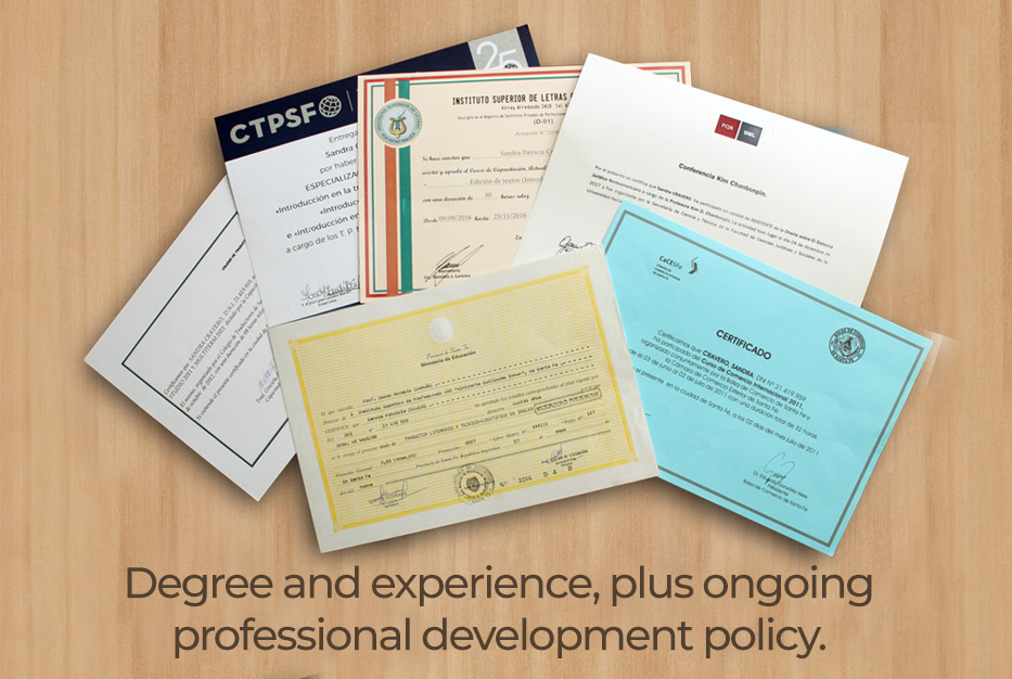 Degree and experience
